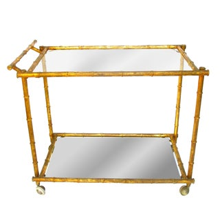 Vintage Italian Faux Bamboo Gold Bar Cart
