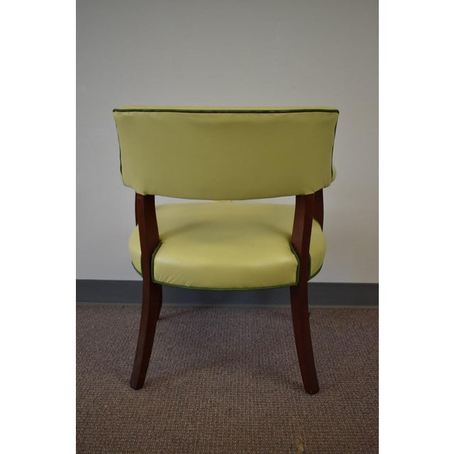 Elegant Set of (4) Celedon Green Leather W Hunter Green Piping Upholstered Bergere Chairs - Image 10 of 10