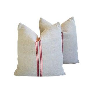 Custom Tailored European Homespun Textile Feather/Down Pillows - Pair