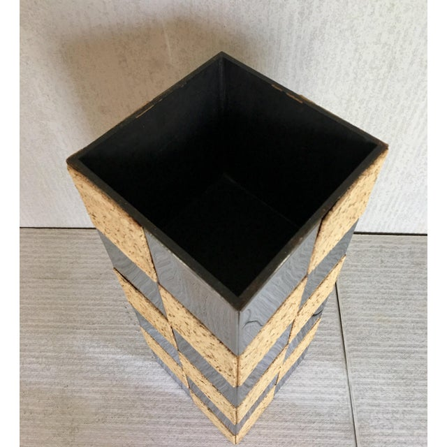 Paul Evans Style Cork & Chrome Pedestal Plant Stand - Image 3 of 6