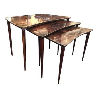 Aldo Tura Lacquered Goatskin Set of Three Nesting Tables