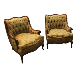 French Tufted Back Bergere Arm Chairs - Pair