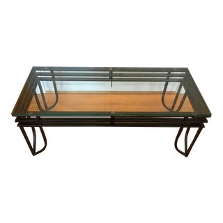Contemporary Glass & Iron Coffee Table