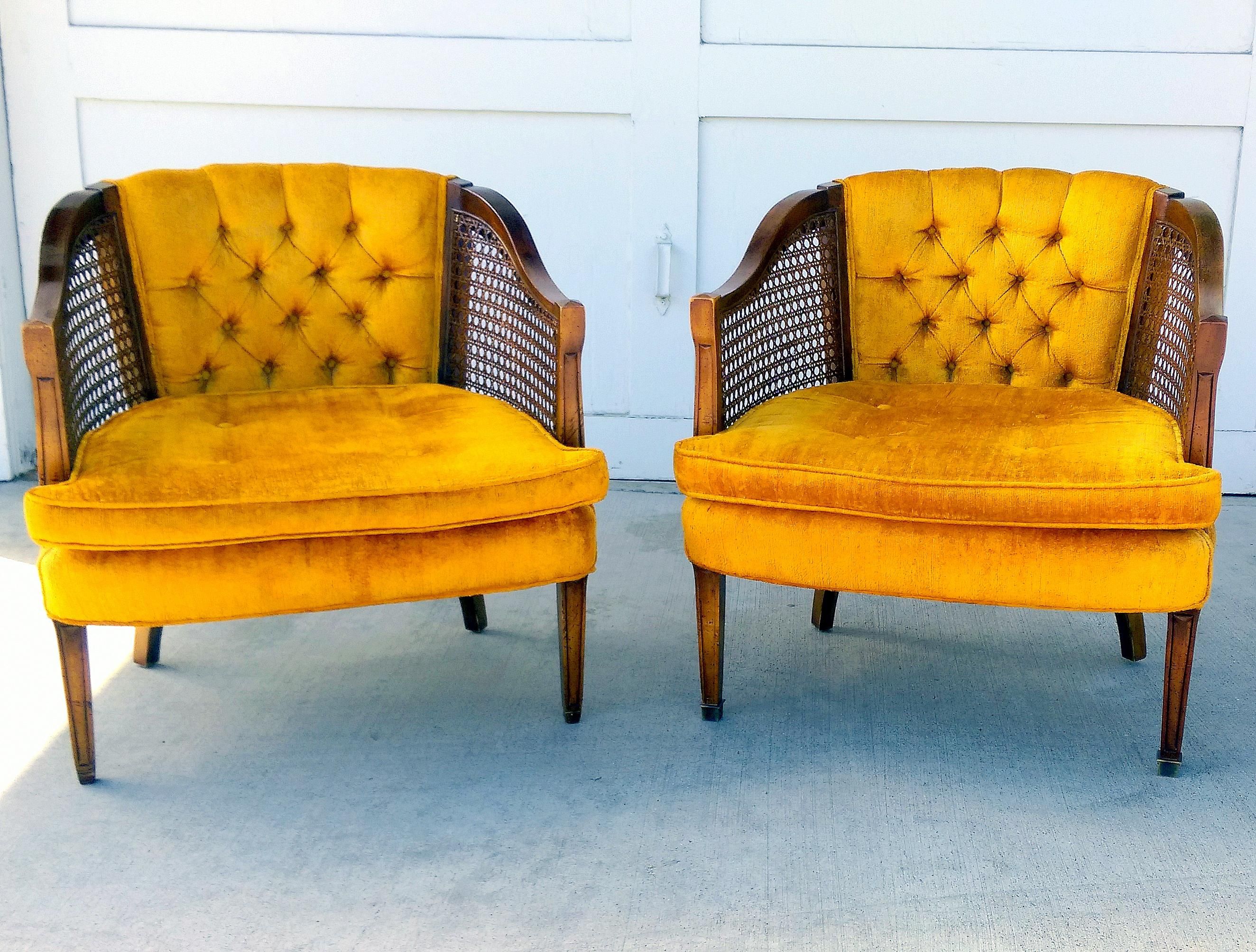 Vintage Gold Sam Moore Cane Barrel Chairs   Pair   Image 4 Of 11