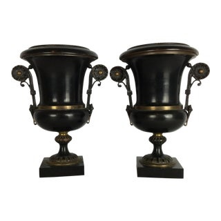 French Antique Patinated Bronze Urns on Marble Base - A Pair