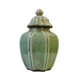 Ceramic Crackle Pattern Pumpkin Celadon Green Jar