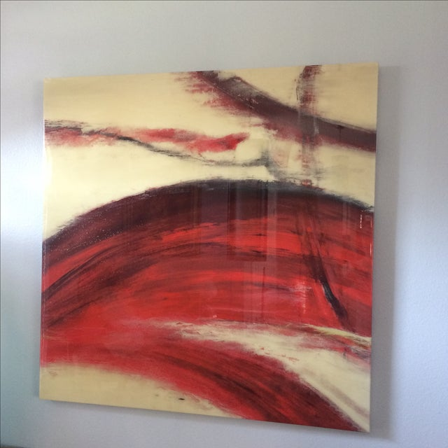 Crimson Wash Contemporary Wall Art - Image 4 of 6