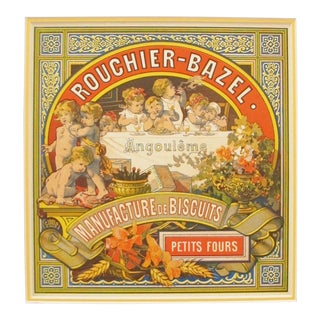 Antique French Biscuit Label, Rouchier Bazel