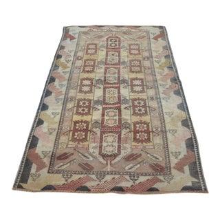 Antique Handwoven Tribal Carpet - 3′11″ × 6′7″