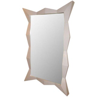 Oversized Diamond White Lacquered Mirror