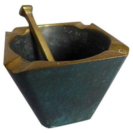 Mid-Century Brass Pipe Smoker's Ashtray - Image 1 of 7