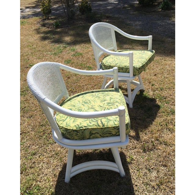 Ficks Reed Cane Swivel Chairs - A Pair - Image 5 of 10