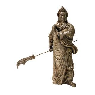 Chinese Silver Standing General Guan Kwan Kong Metal Statue