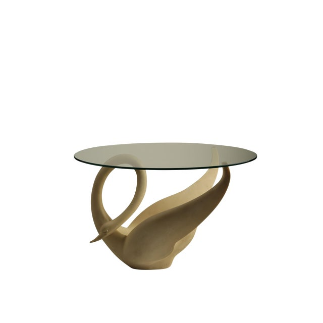 Image of 1960s Resin Swan Table with Glass Top