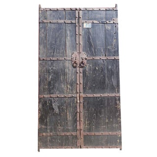 Antique Mongolian Painted Wooden Garden Gate