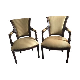 Hollywood Regency Striped Chairs - A Pair
