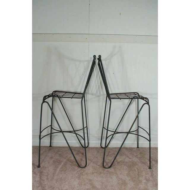 Mid Century Modern Wrought Iron Hairpin Bar Stools - A Pair - Image 5 of 11