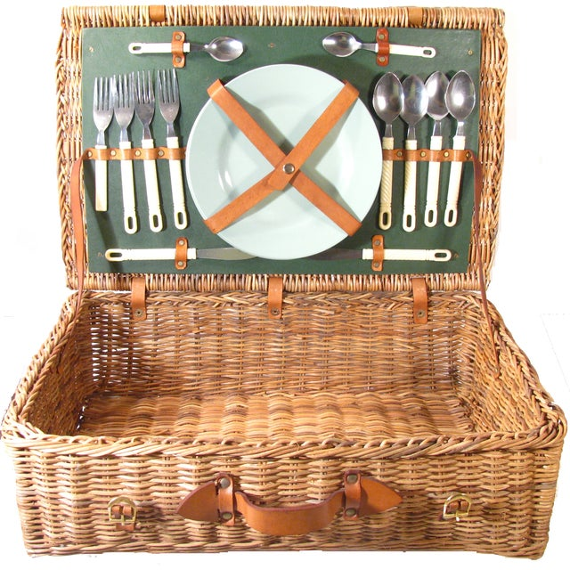 Vintage Dinnerware And Cutlery Picnic Basket Set Chairish