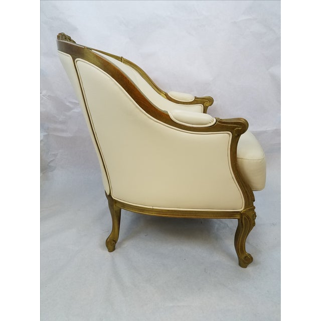 Ivory Leather Bergere Club Chairs - A Pair - Image 4 of 6