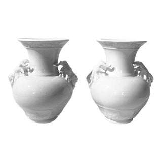 KPM Berlin White Porcelain Vases With Rams - A Pair