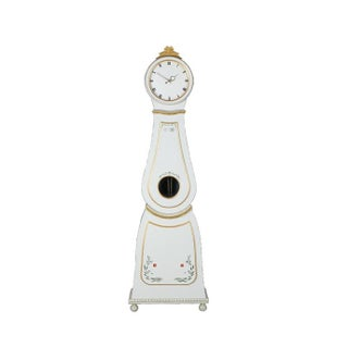 Swedish White & Gold Painted Mora Clock