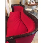 Image of Antique Wood Carved & Red Fabric Sofa
