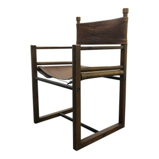 Jonathan Ginat Solid Rosewood Brazilian Leather Sling Side Chair