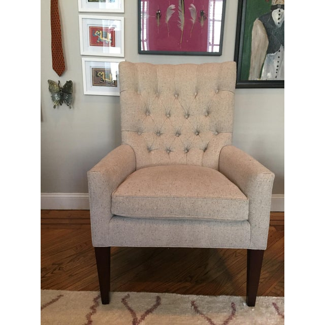Custom Tufted Wingback Chair - a Pair - Image 2 of 11