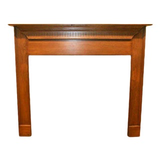 Smaller Antique Pine Wooden Mantel With Dentil Molding Detail