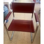 Image of Cognac Leather and Chrome Armchairs - Set of 4