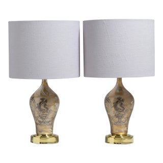 A Pair of Fornasetti Style Eglomise Glass Table Lamps 1970s