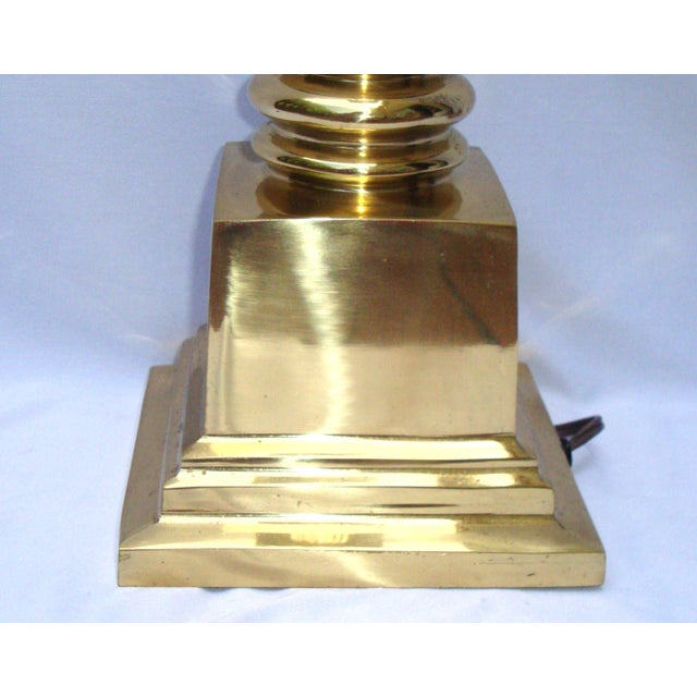Hollywood Regency Brass Gold Greek Column Lamp - Image 9 of 11