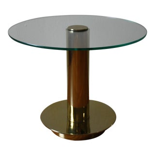 Pace 70s Brass & Glass Side Table