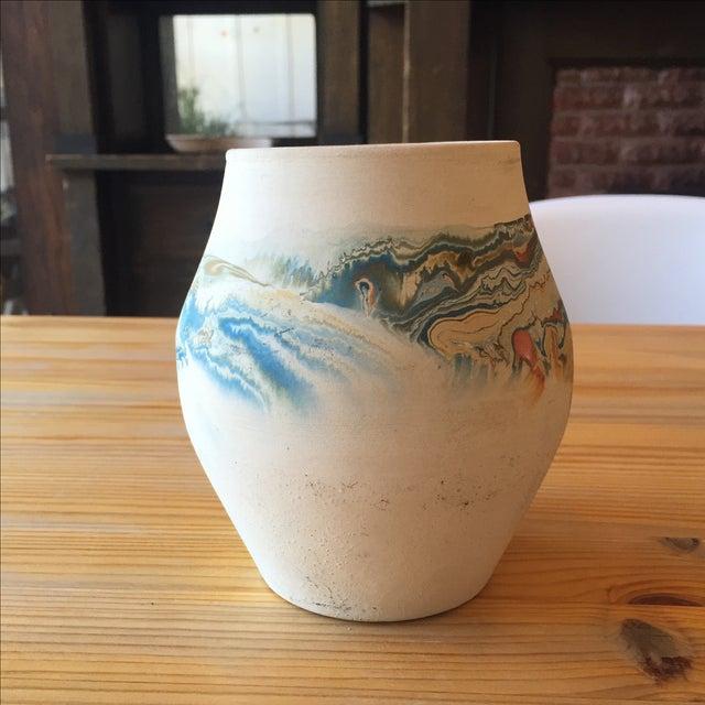 Vintage Blue and Orange Nedmadji Pottery Vase - Image 5 of 11