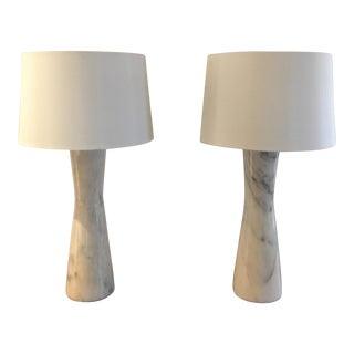 Carrara Marble Art Deco Lamp - Pair