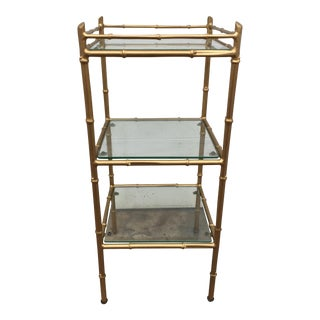 Hollywood Regency Faux Bamboo Three Tier Stand