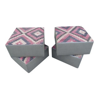 Ottoman Poofs with Antique Kilim Rug Tops & Vinyl Surroundings - Set of 4