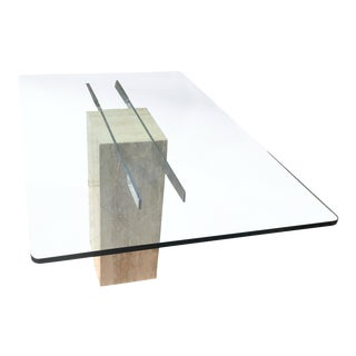 Vintage Italian Ello Glass and Travertine Dining Table