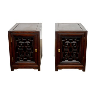 Chinese Carved Rosewood Bedside Cabinets - Pair