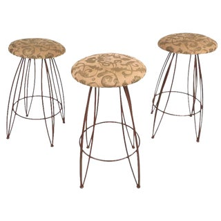 Mid-Century Modern Wrought Iron Bar Stools - Set of 3