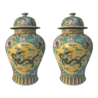 Chinese Chinoiserie Colorful Dragon Porcelain Ginger Jars~Pair