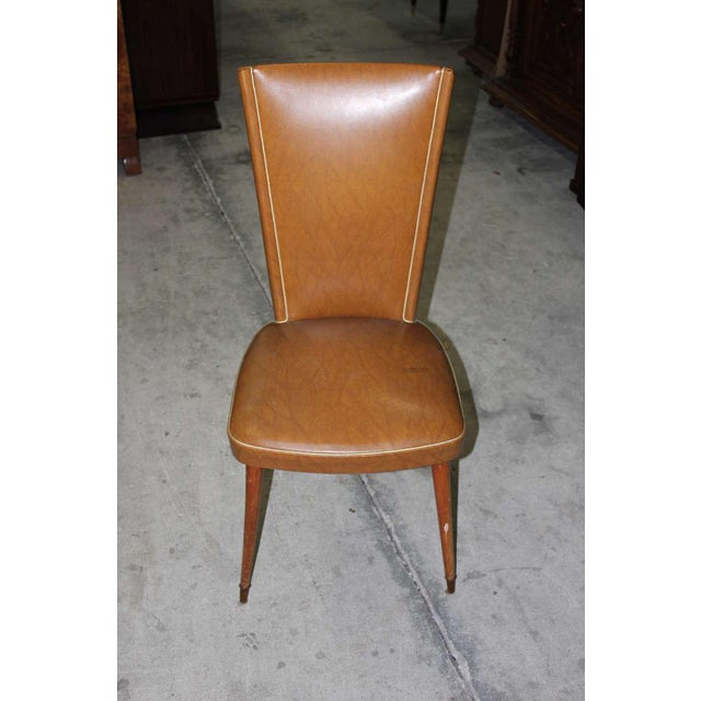 1940s Vintage French Art Deco Walnut Dining Chairs - Set of 6 - Image 5 of 7