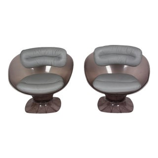 Pair of Smoky Plexi Chairs by Pierre Étienne Durantet for Raphael, French 1970s