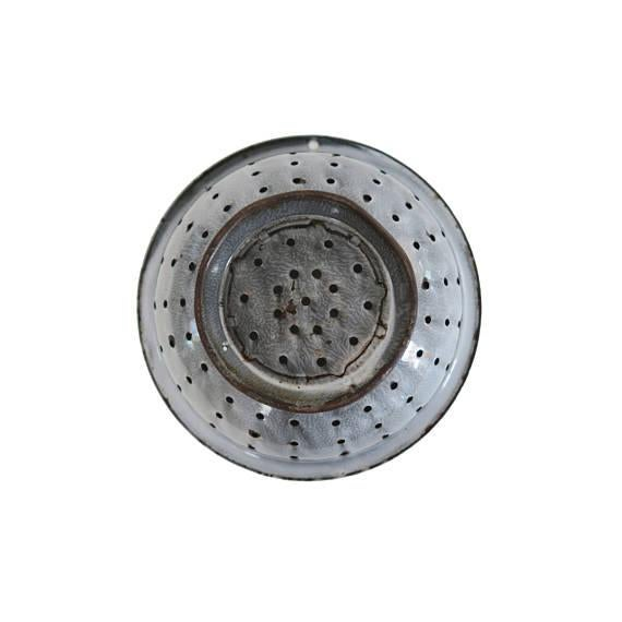 Image of Vintage Graniteware Gray Speckled Large Enamel Colander Strainer