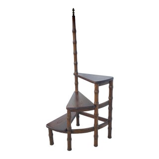 Wood & Brass Spiral Library Step Ladder