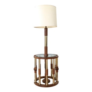Vintage Mid-Century Wood & Brass Floor Lamp
