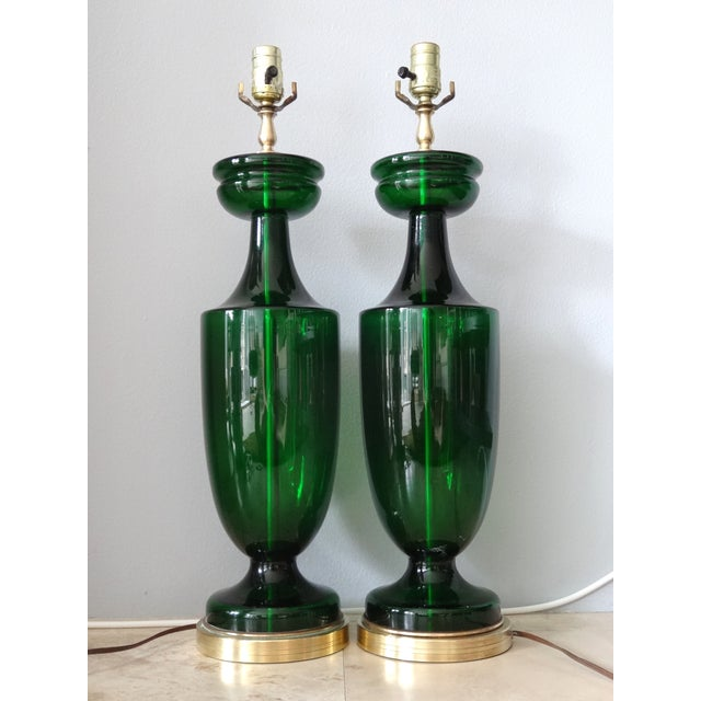 Image of Neoclassical Style Handblown Glass Lamps - 2