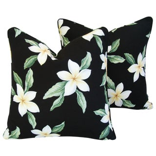 Custom Tropical Blossom Barkcloth Pillows - A Pair