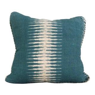 Peter Dunham Ikat Peacock Linen Pillow