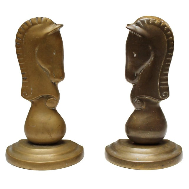 Vintage Brass Horse Bookends- A Pair - Image 1 of 4